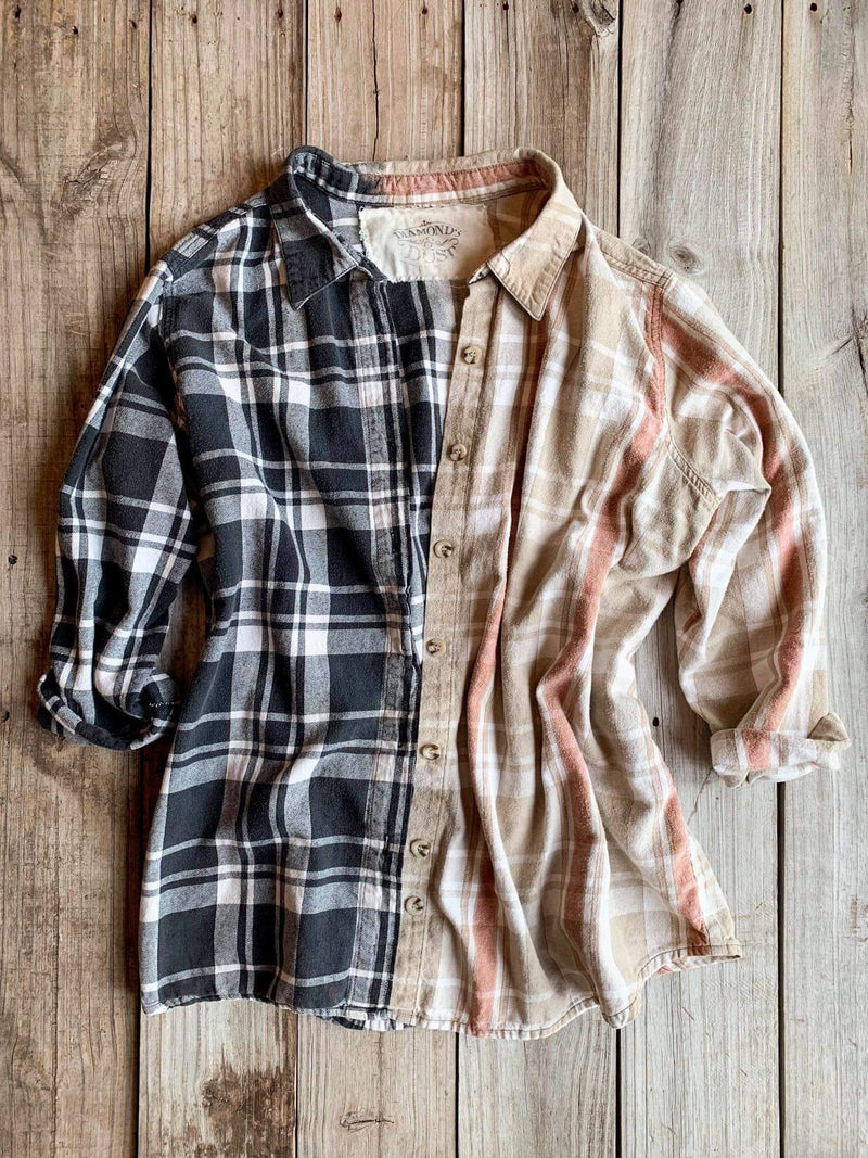 Vintage Black, Tan & Rust Flannel - XXLarge