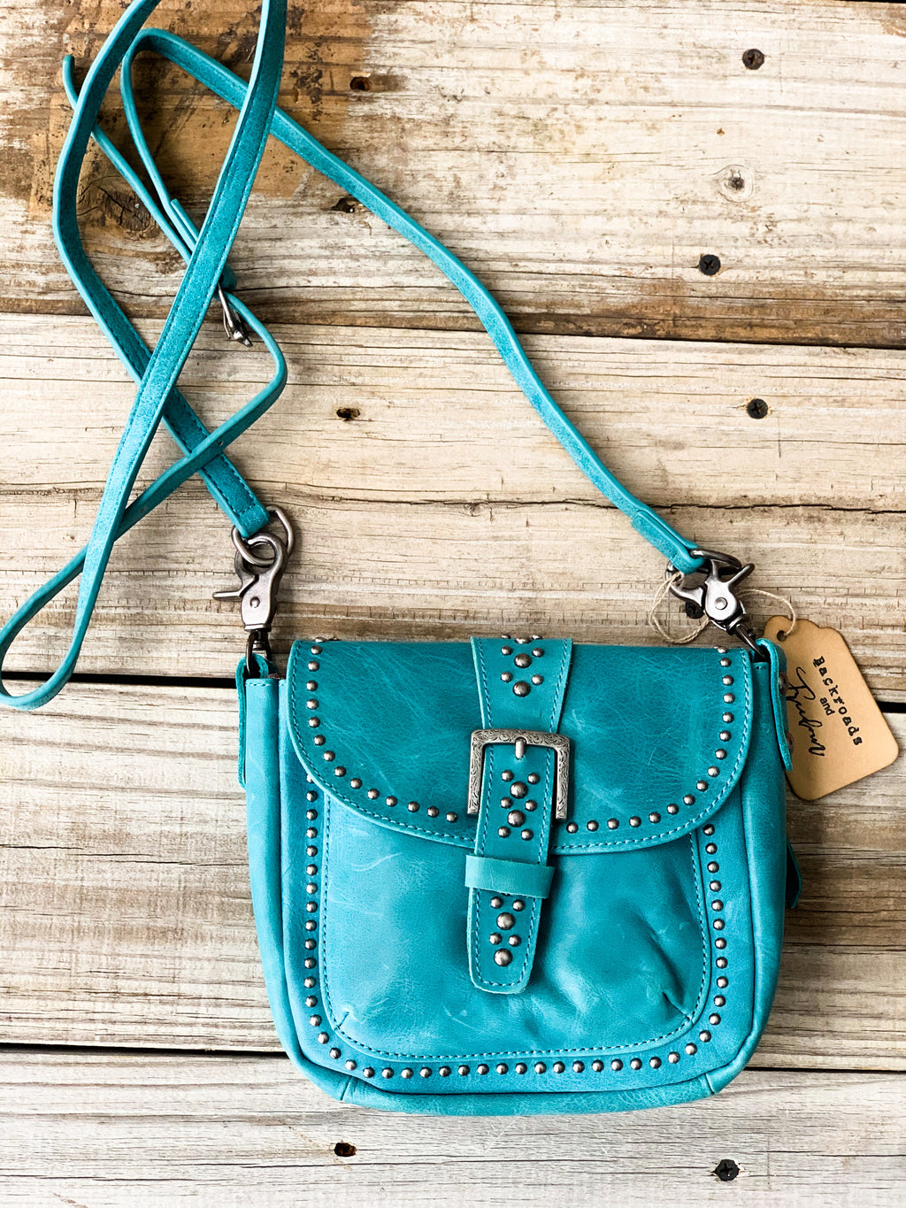 Turquoise Leather Crossbody