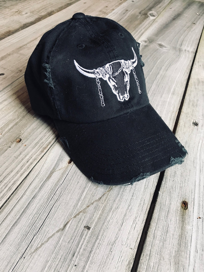 Distressed Black Logo Ball Cap