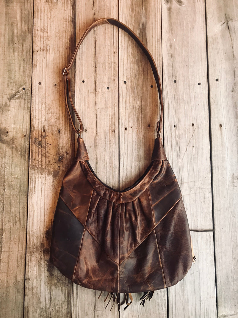 Distressed Brown Gypsy Leather Purse