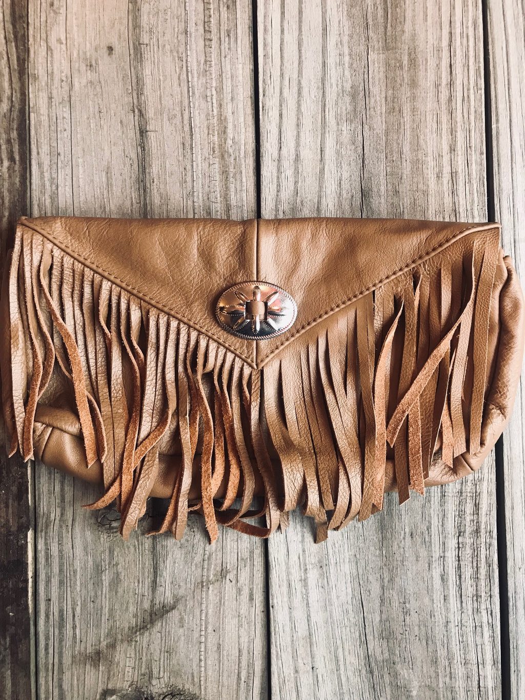 Leather Concho Fringe Clutch