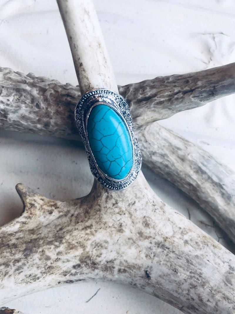 Large Oval Faux Turquoise Ring