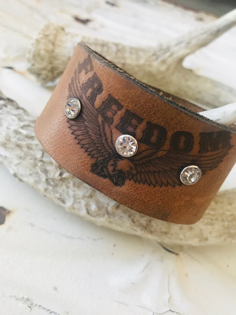 Vintage Leather Freedom Cuff- Medium