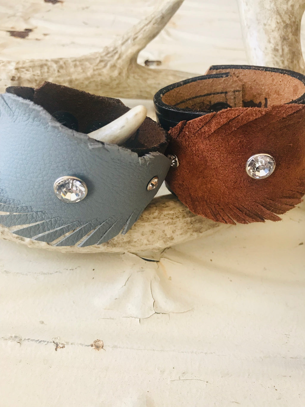 Vintage Leather-Feather Cuffs- Small