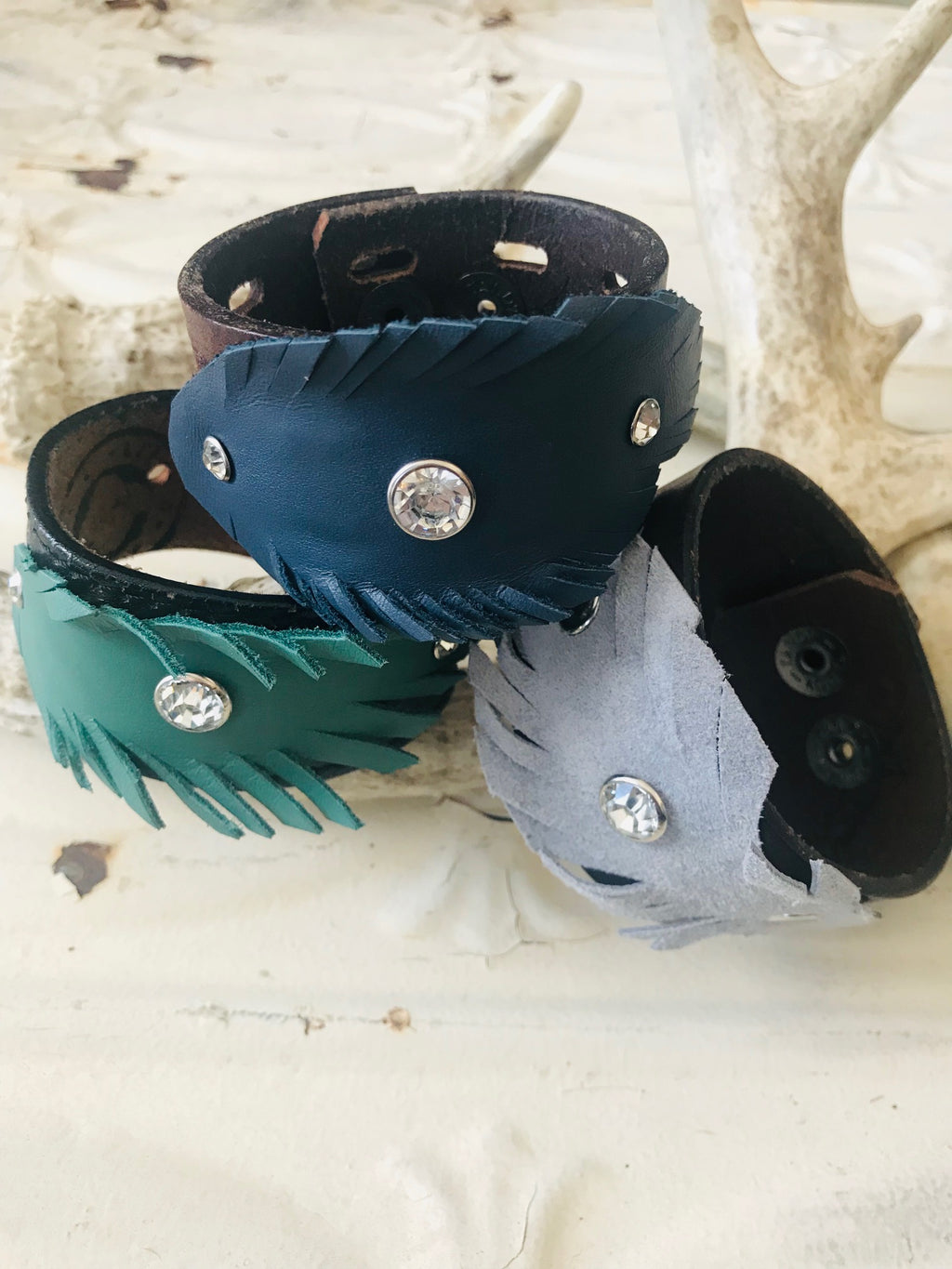 Vintage Leather-Feather Cuffs- Large