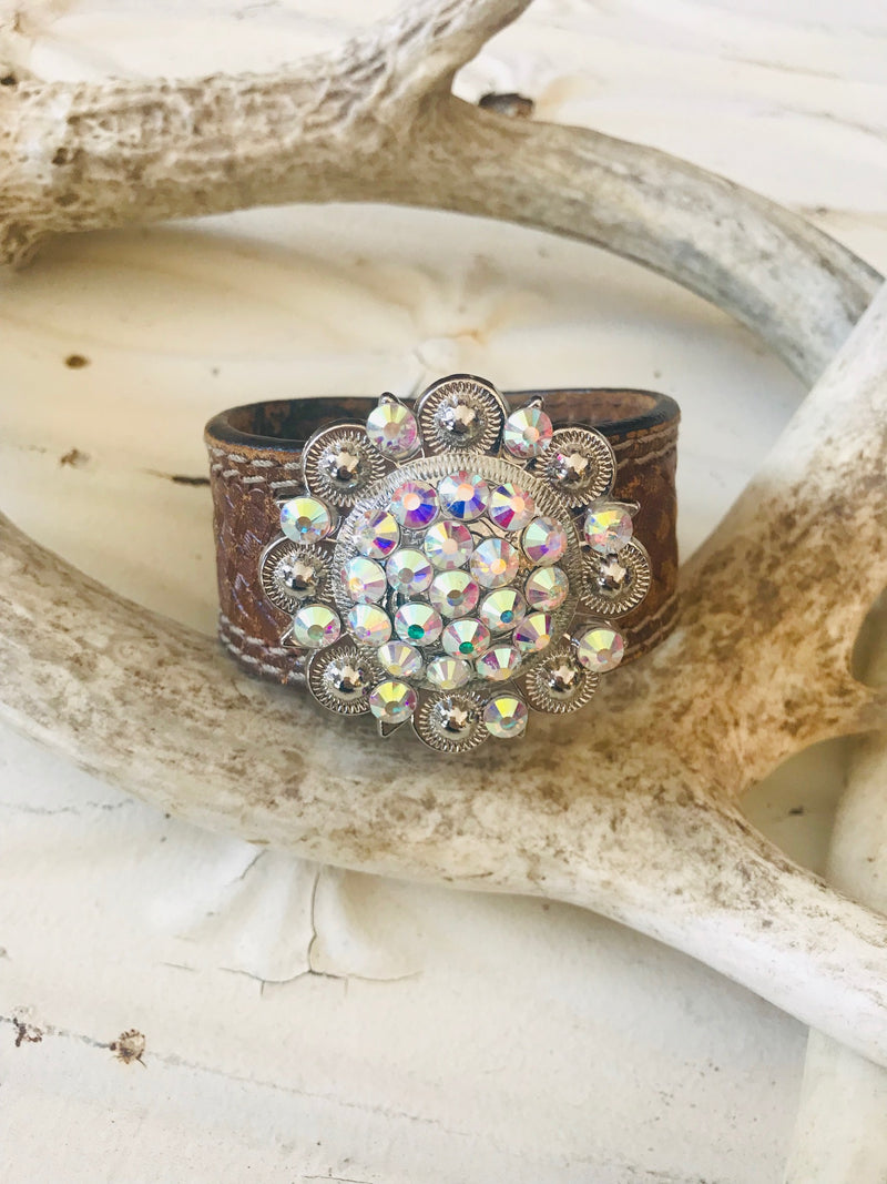 Vintage Leather Swarovski Cuff- Large
