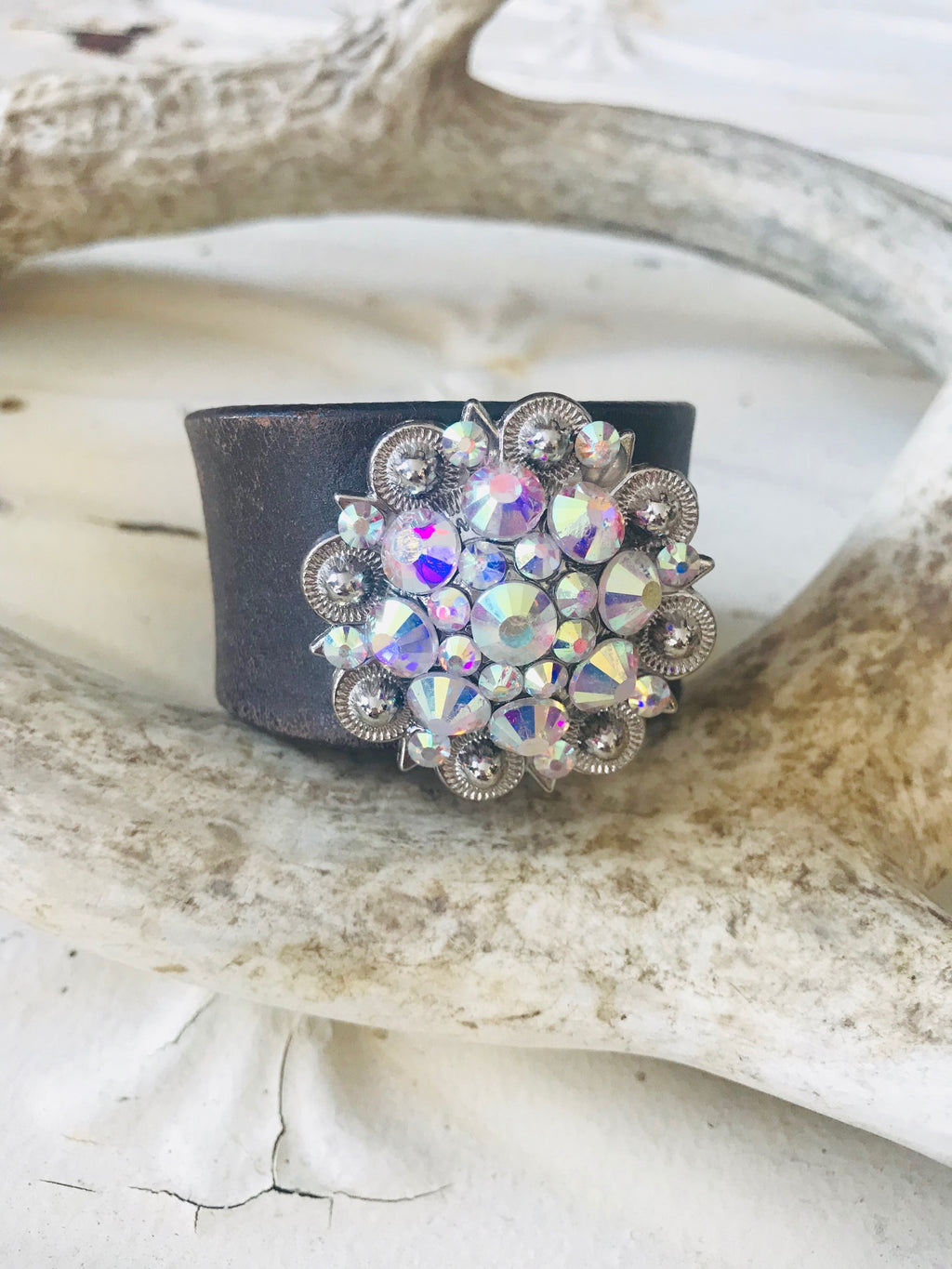 Vintage Leather Swarovski Cuff-Small