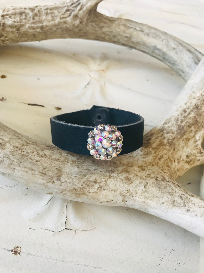 Vintage Leather Skinny Swarovski Cuff - Small