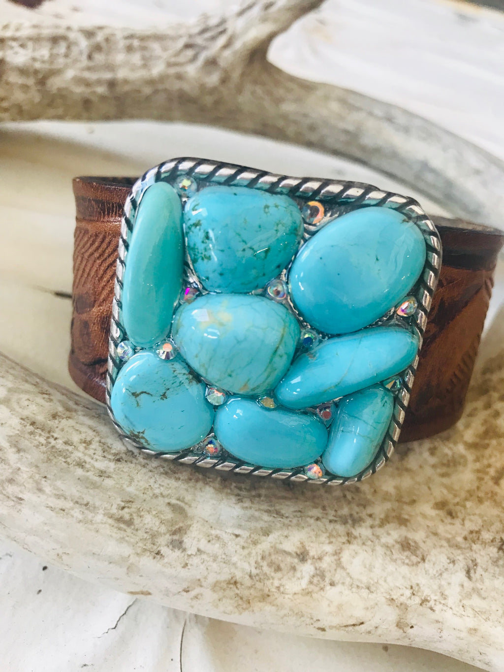 Vintage Leather Turquoise Cuff - Large