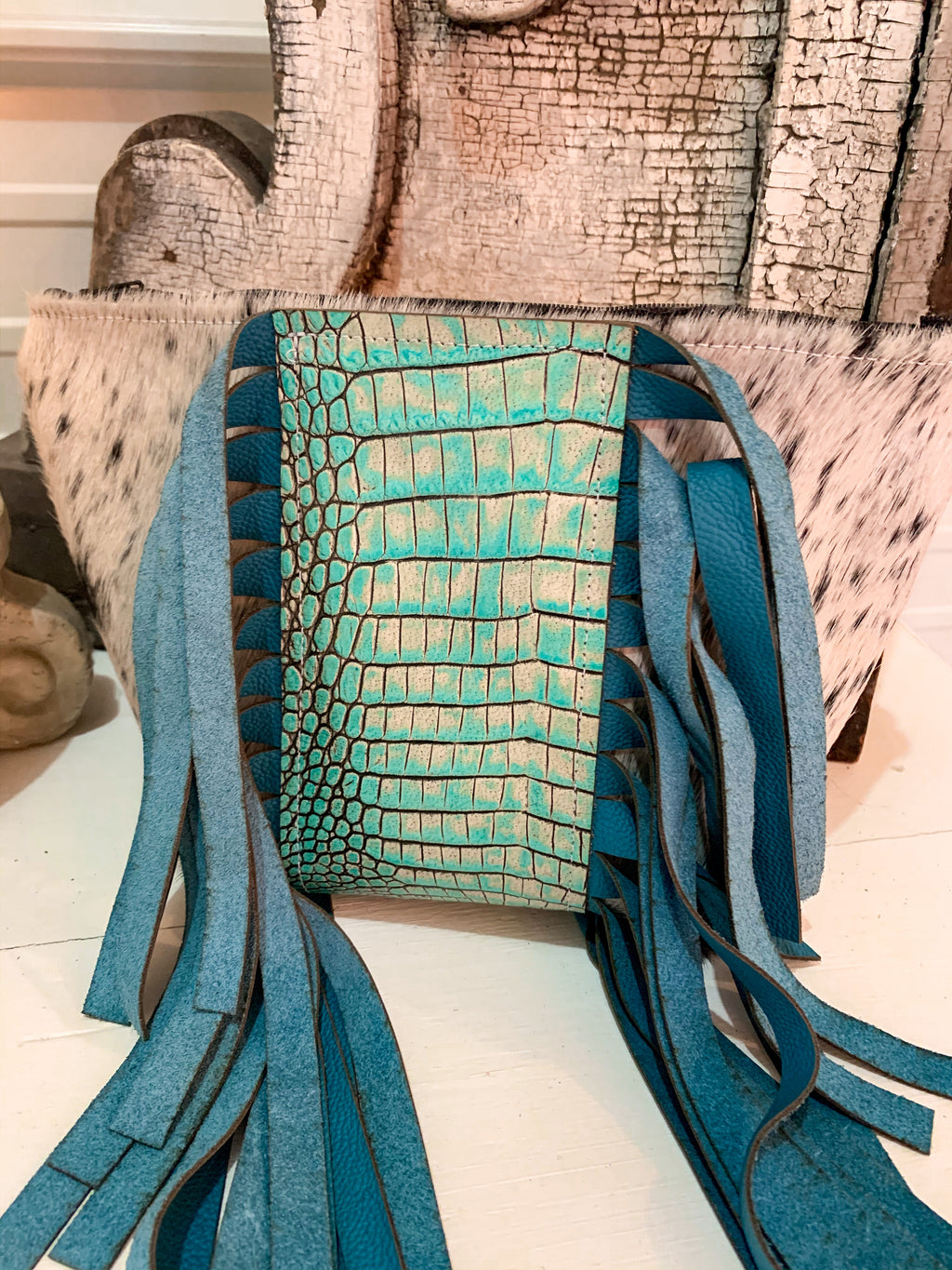 Turquoise Leather Makeup Bag