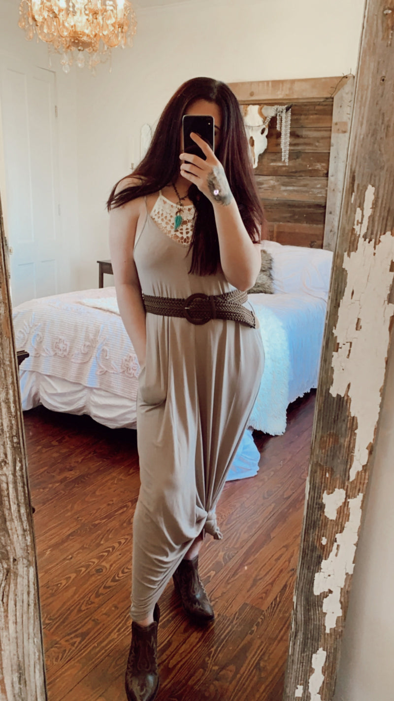 Key West V Neck Maxi- Ash Mocha