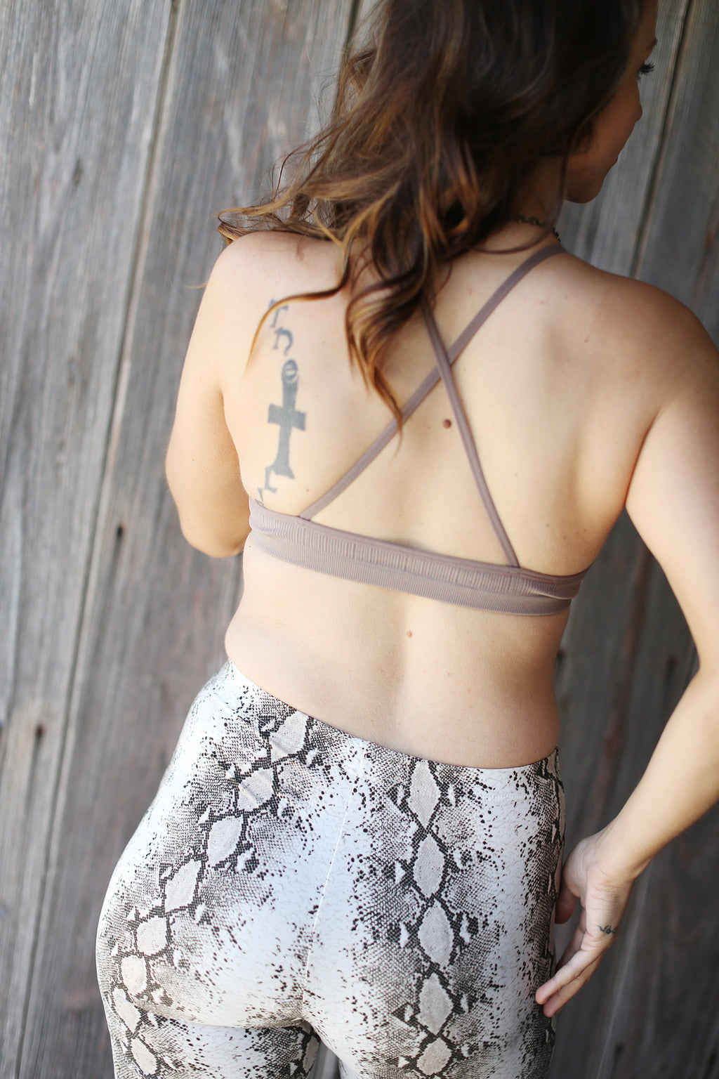 Crochet Lace High Neck Bralette- Mocha