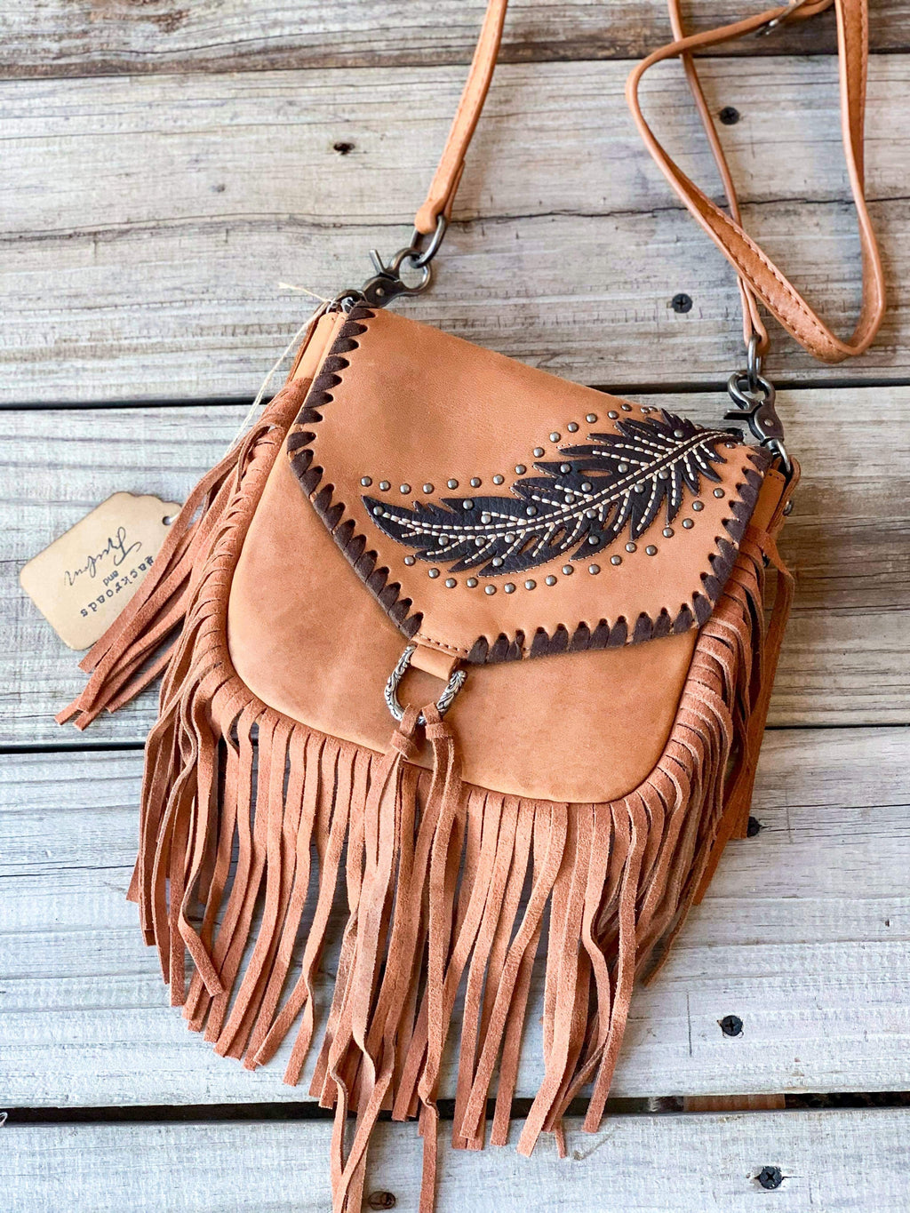 Light Brown Feather Crossbody
