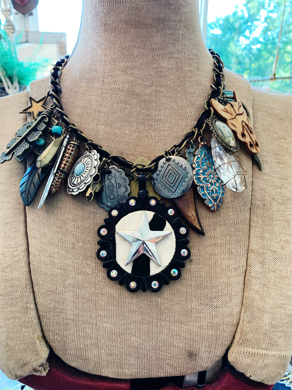 Western Cowhide Necklace