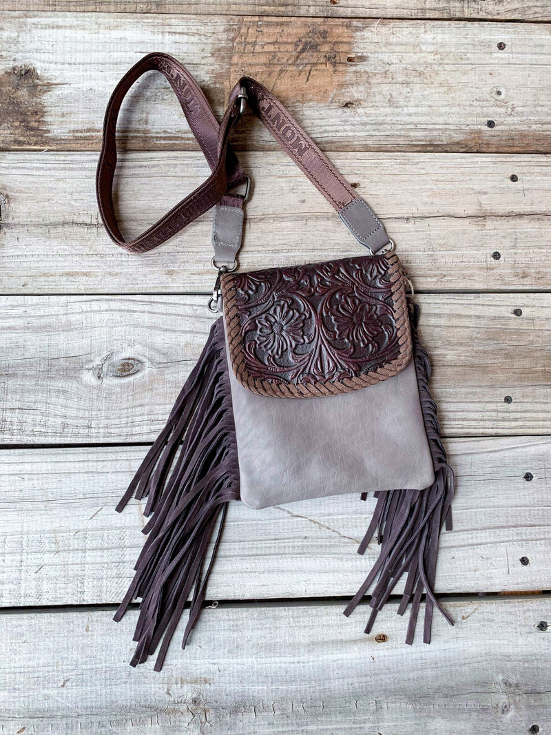 Brown Leather Tooled Crossbody