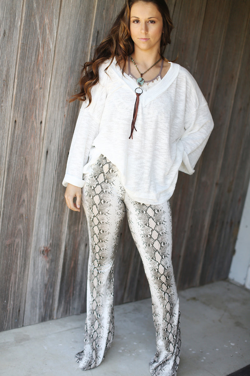 High Waist Bell Bottom Snake Print Leggings
