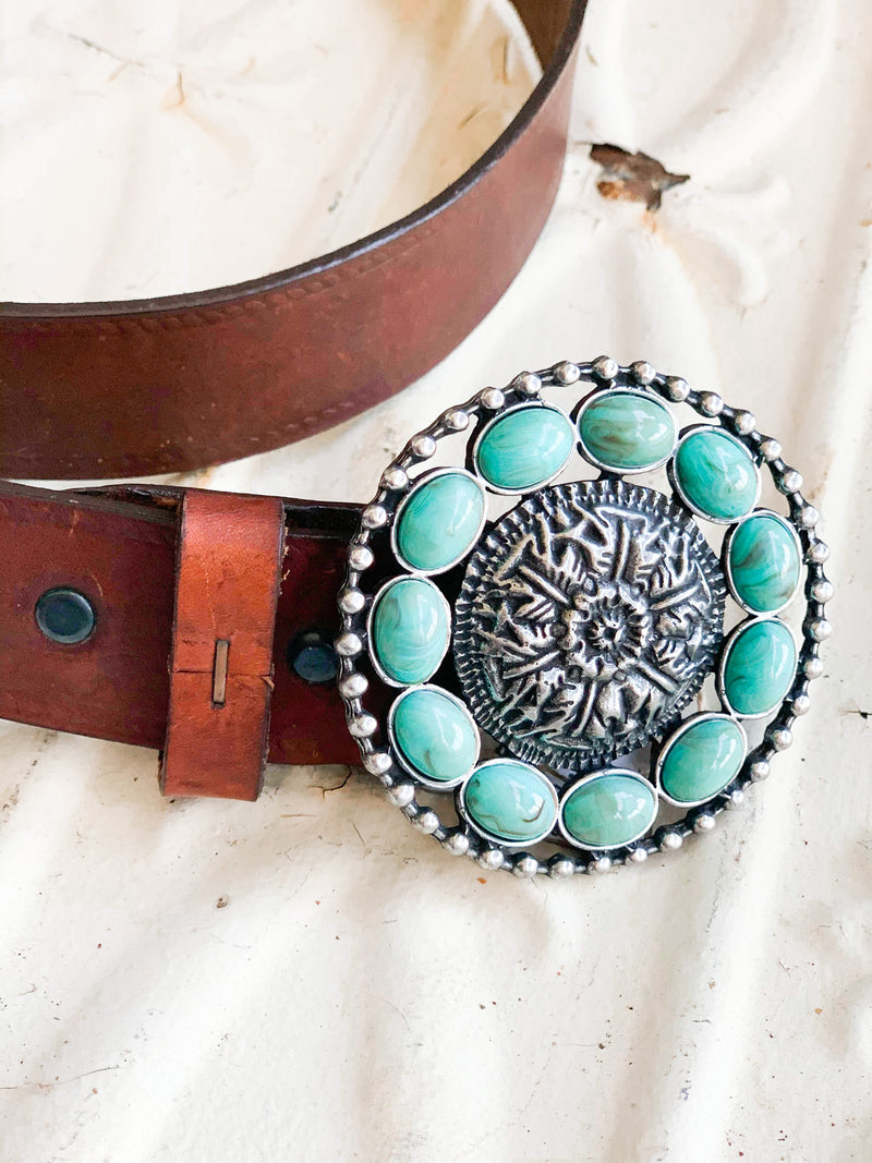 Leather Belt with Turquoise Belt Buckle