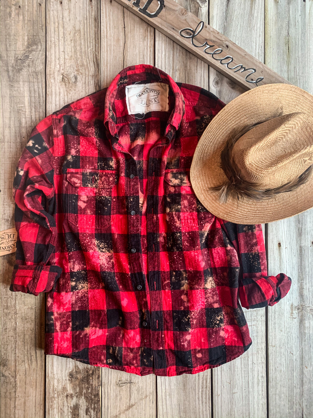 Take No Bull Signature Grungy Flannel - Bright Red