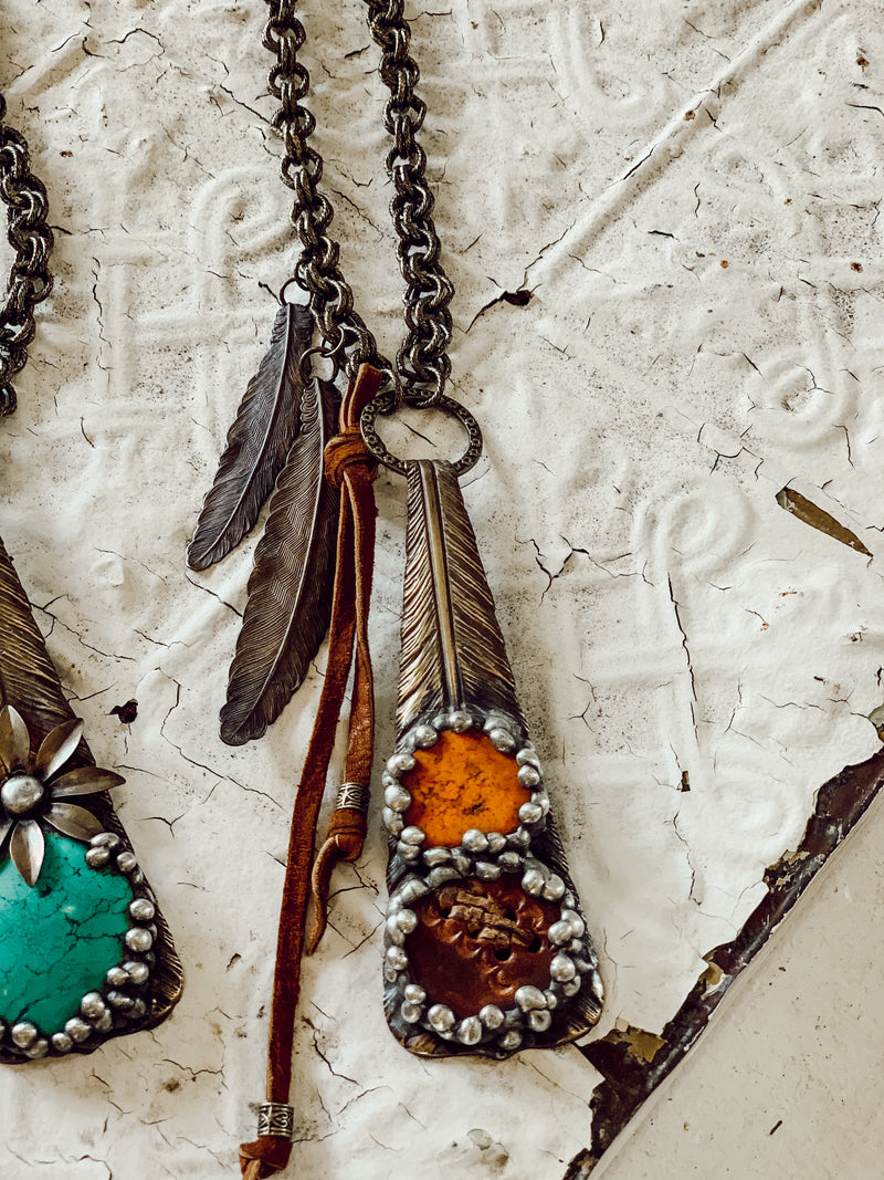 Autumn Feather Necklace