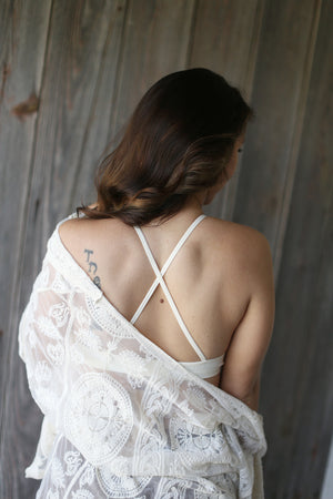 Crochet Lace High Neck Bralette- Ivory