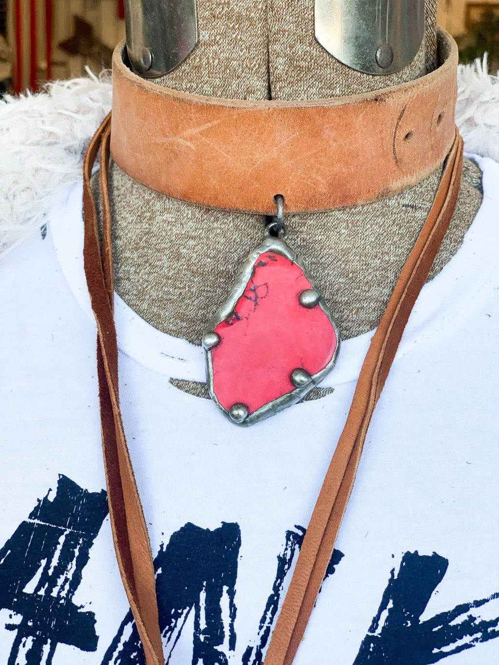 Boho Leather Choker - Red Stone