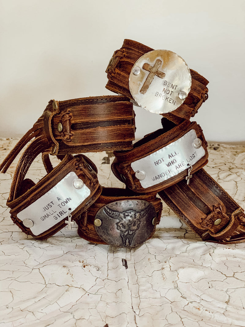 Not All Who Wander Leather Cuff