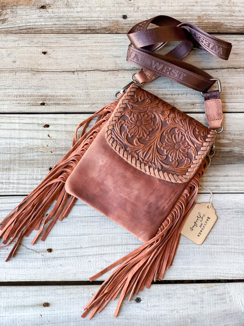 Light Brown Tooled Leather Crossbody