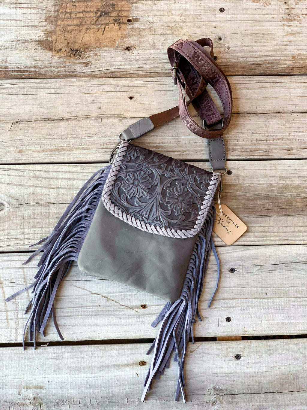 Grey Tooled Leather Crossbody