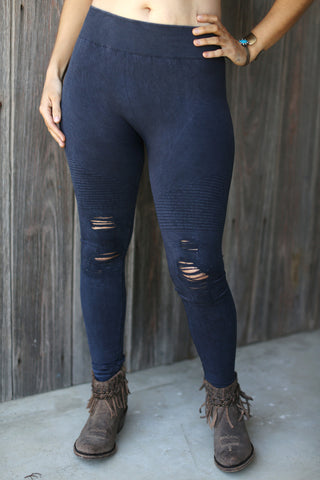 Plus Vintage Moto Leggings