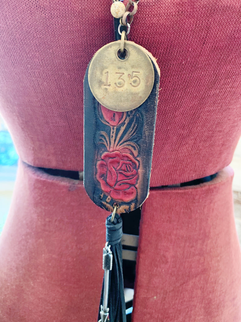 Vintage Leather Belt Necklace
