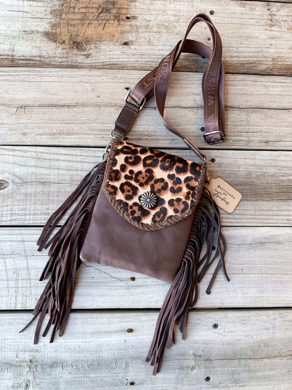 Dark Brown Hair on Hide Crossbody