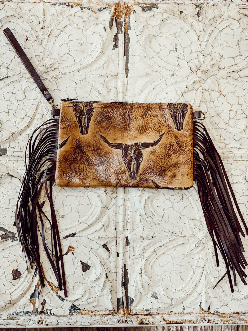 Steer Head Leather Clutch Handbag