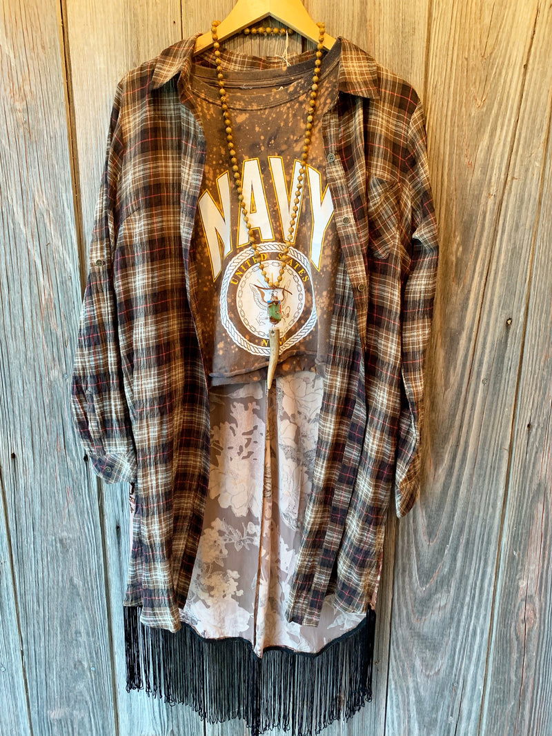 Loretta Plaid Duster