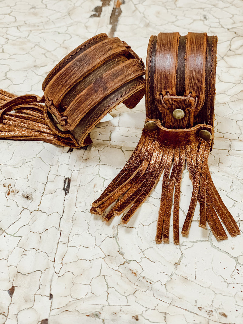 Dusty Leather Cuff with Fringe