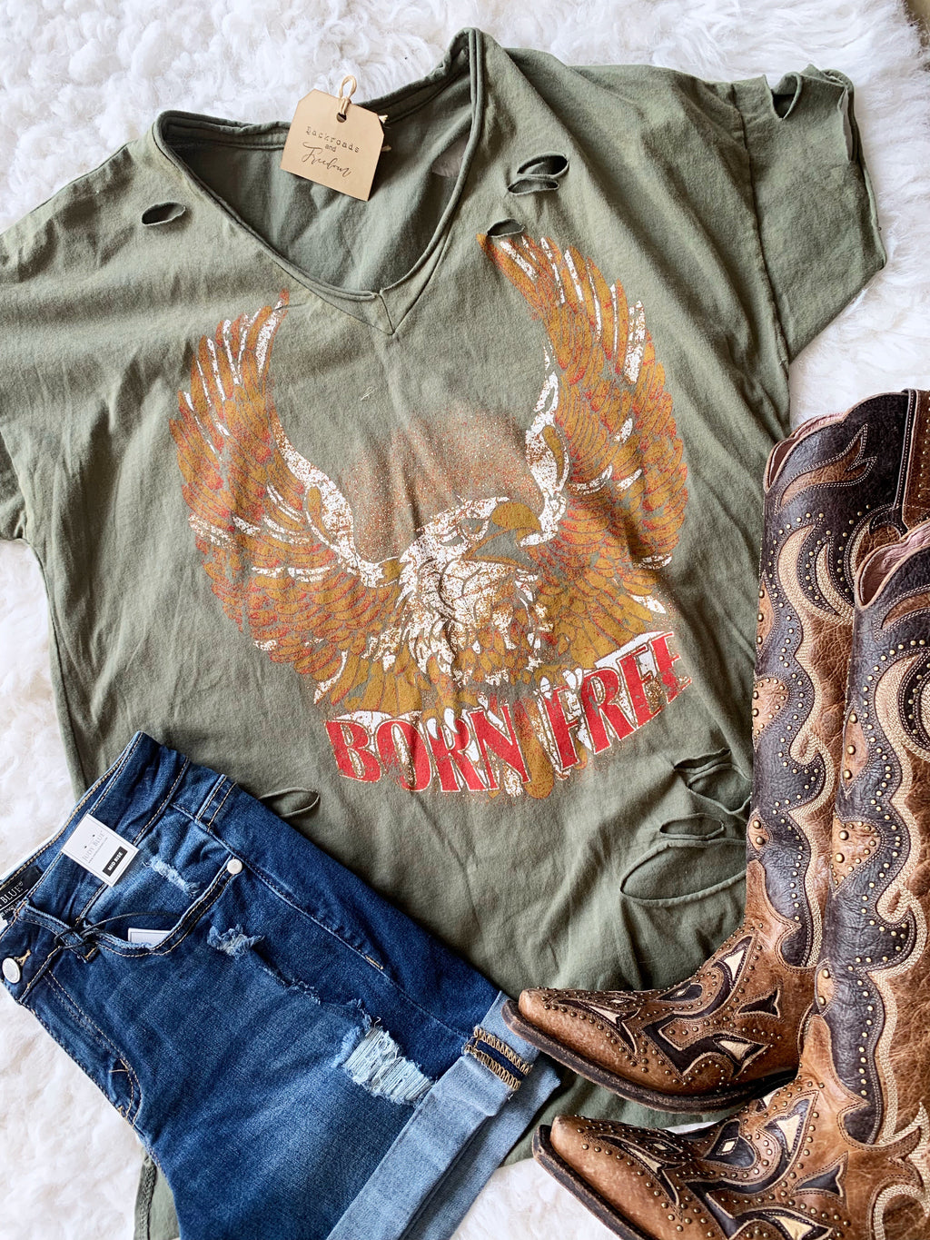 Born Free Distressed Tee