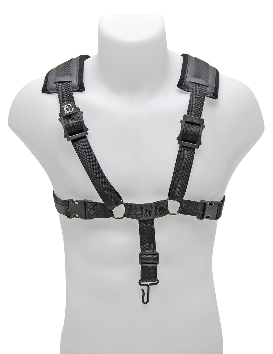 BG Bass Clarinet Harness Comfort, Extra Cotton Padding, Metal Hook + Leather Loop Attachment