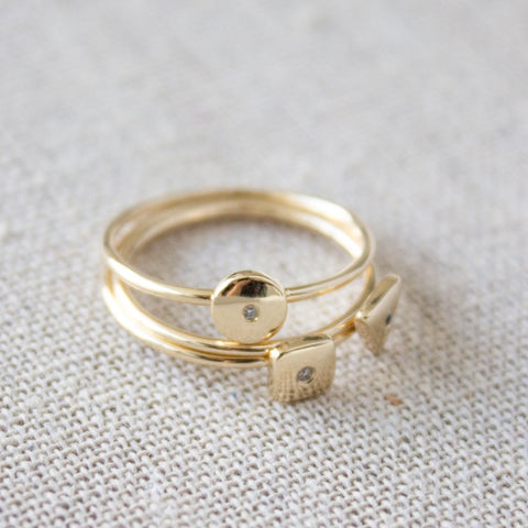 Stacked gold Geo Rings
