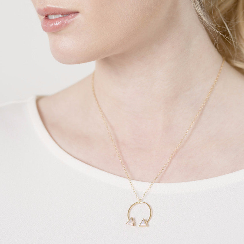 Double Arrow Necklace on model