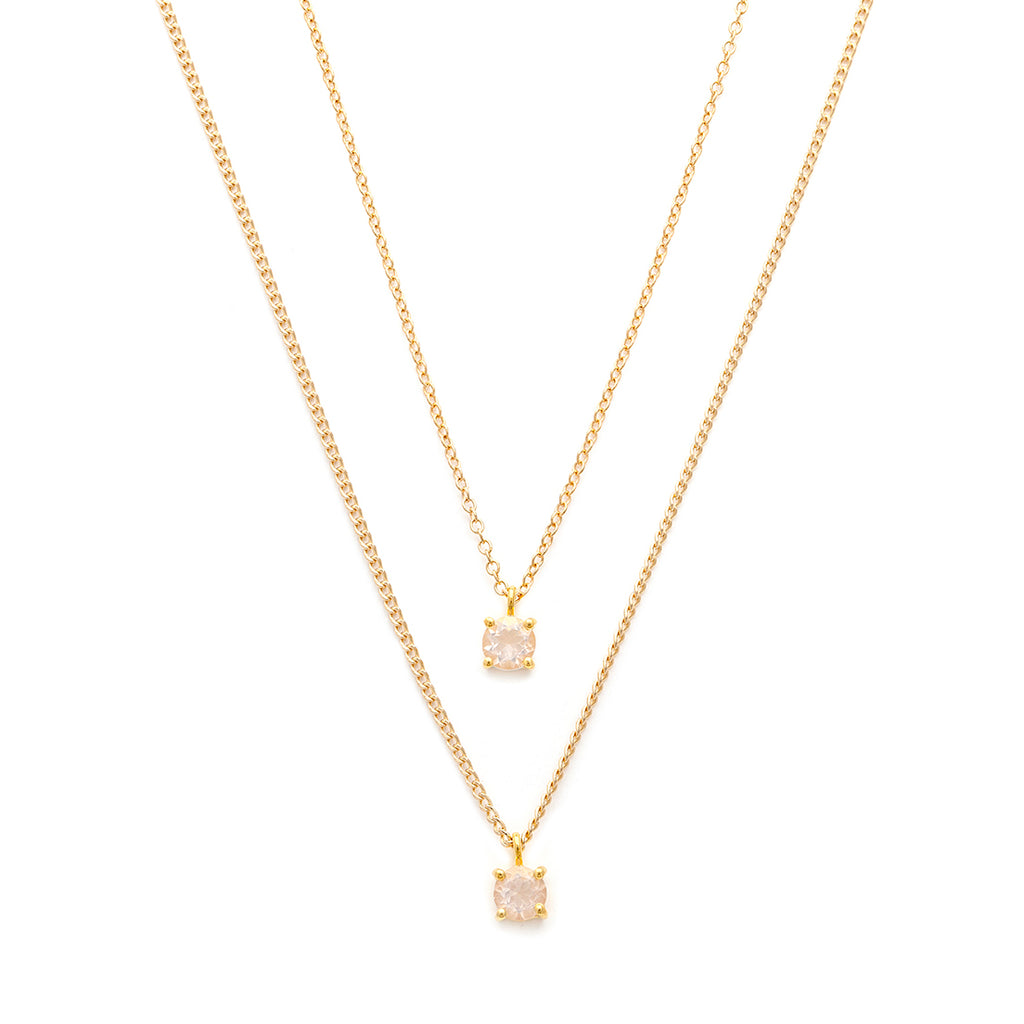 Layered look rose quartz & gold-filled necklace
