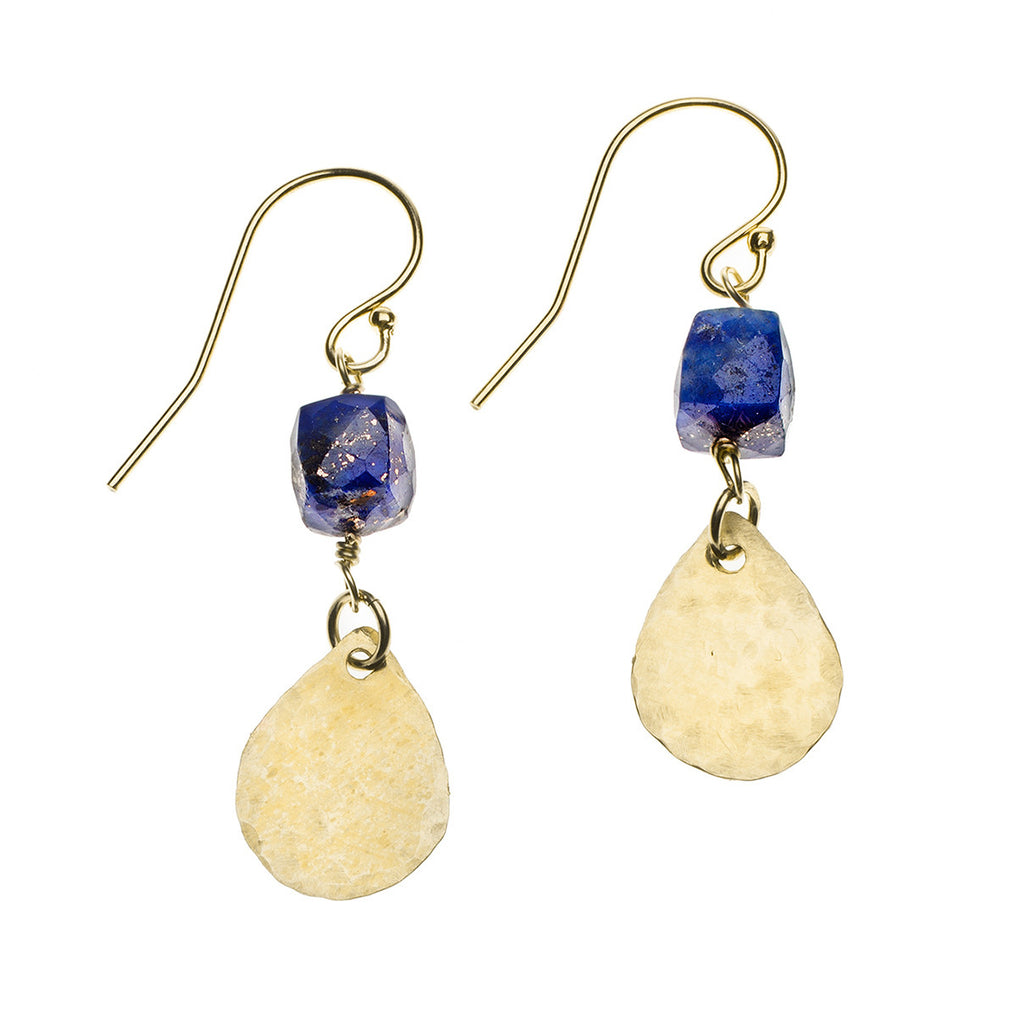 Lapis cube and teardrop earrings