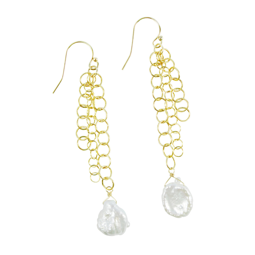 Cascading chain and keshi pearl earrings