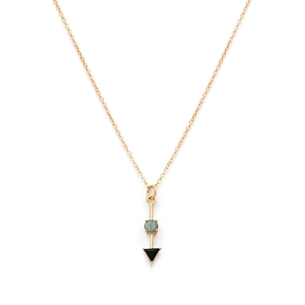 Black spinel and labradorite pendant necklace in gold