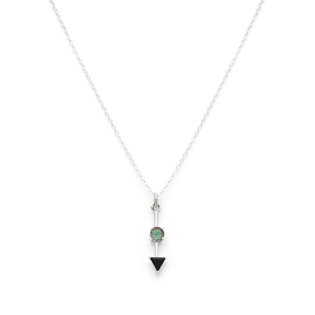 Black spinel and labradorite pendant necklace in silver