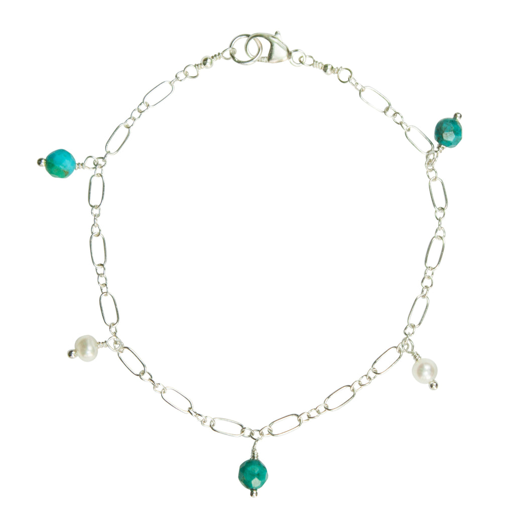 Turquoise & pearl charm bracelet