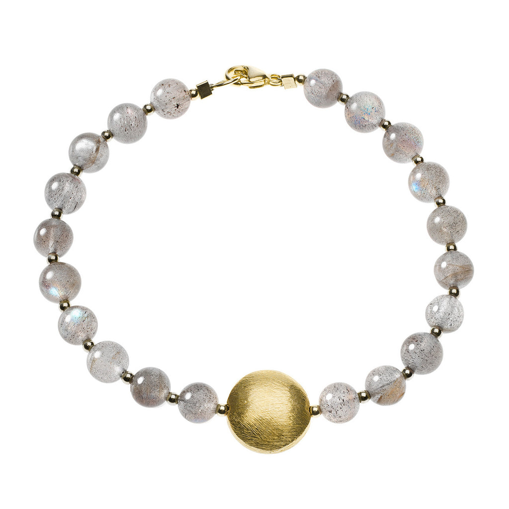 Labradorite bracelet with gold coin bead