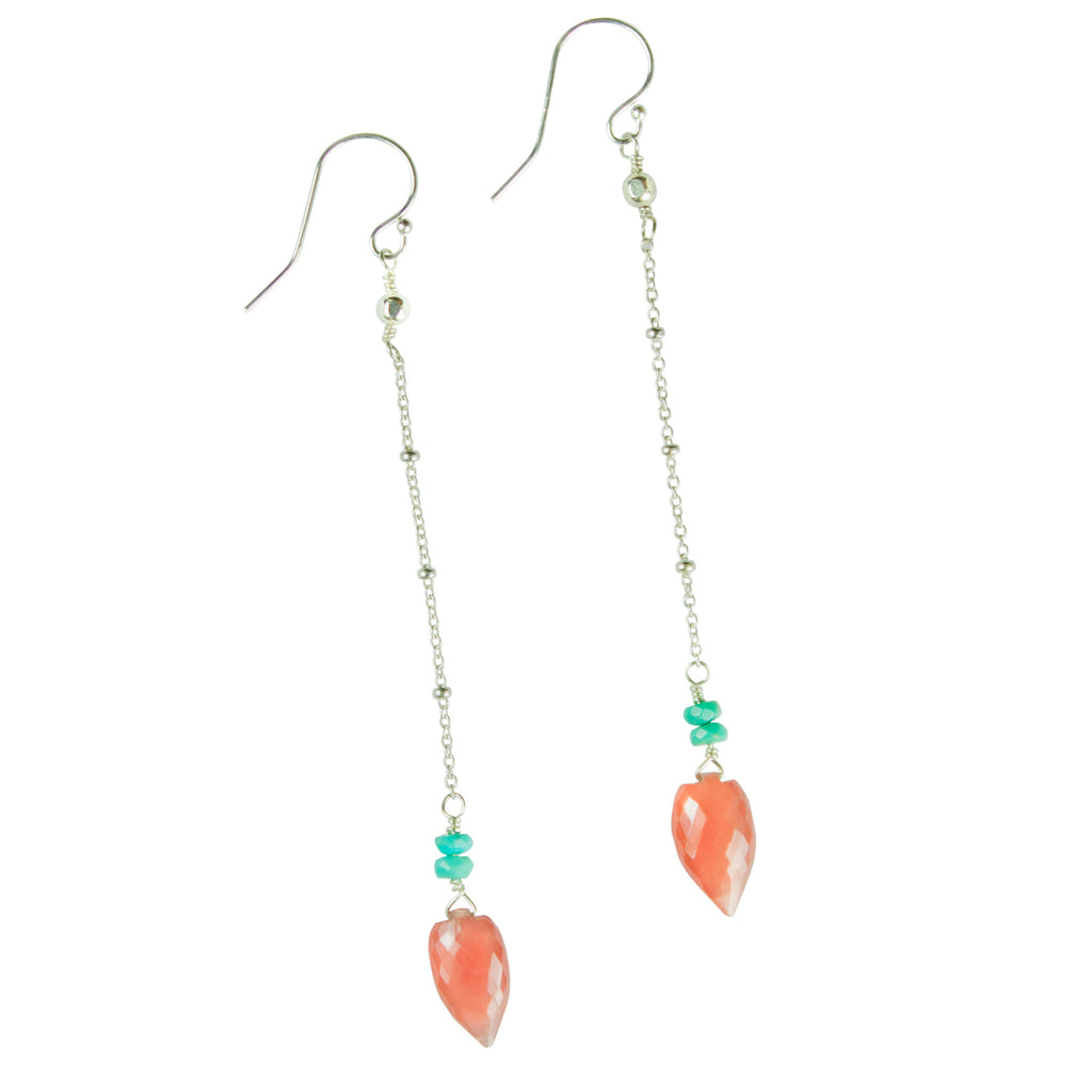Rhodochrosite & turquoise chain earrings