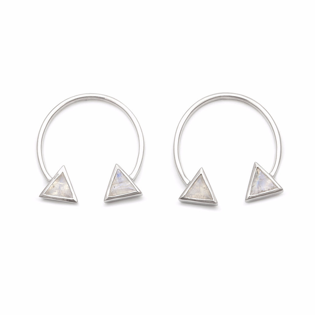 Double Arrow Studs - Moonstone