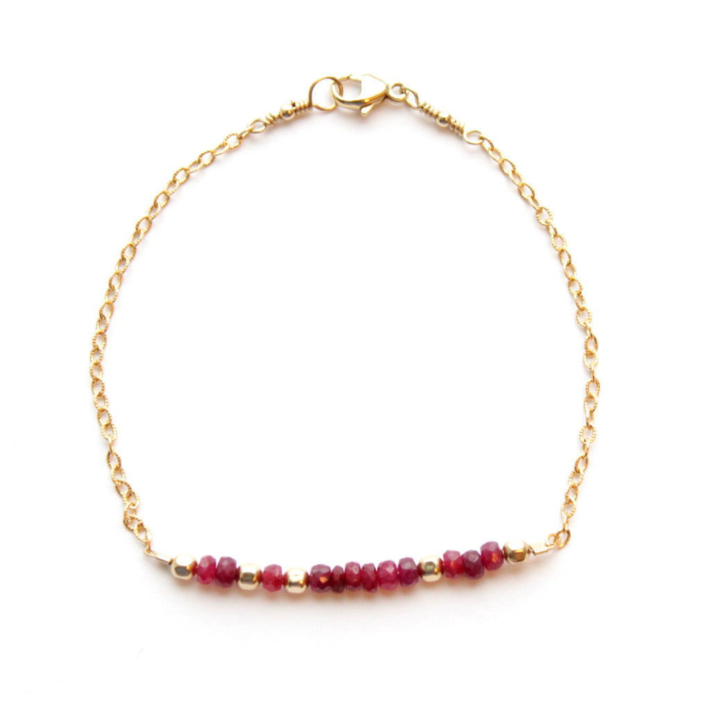 ruby & gold fill bracelet