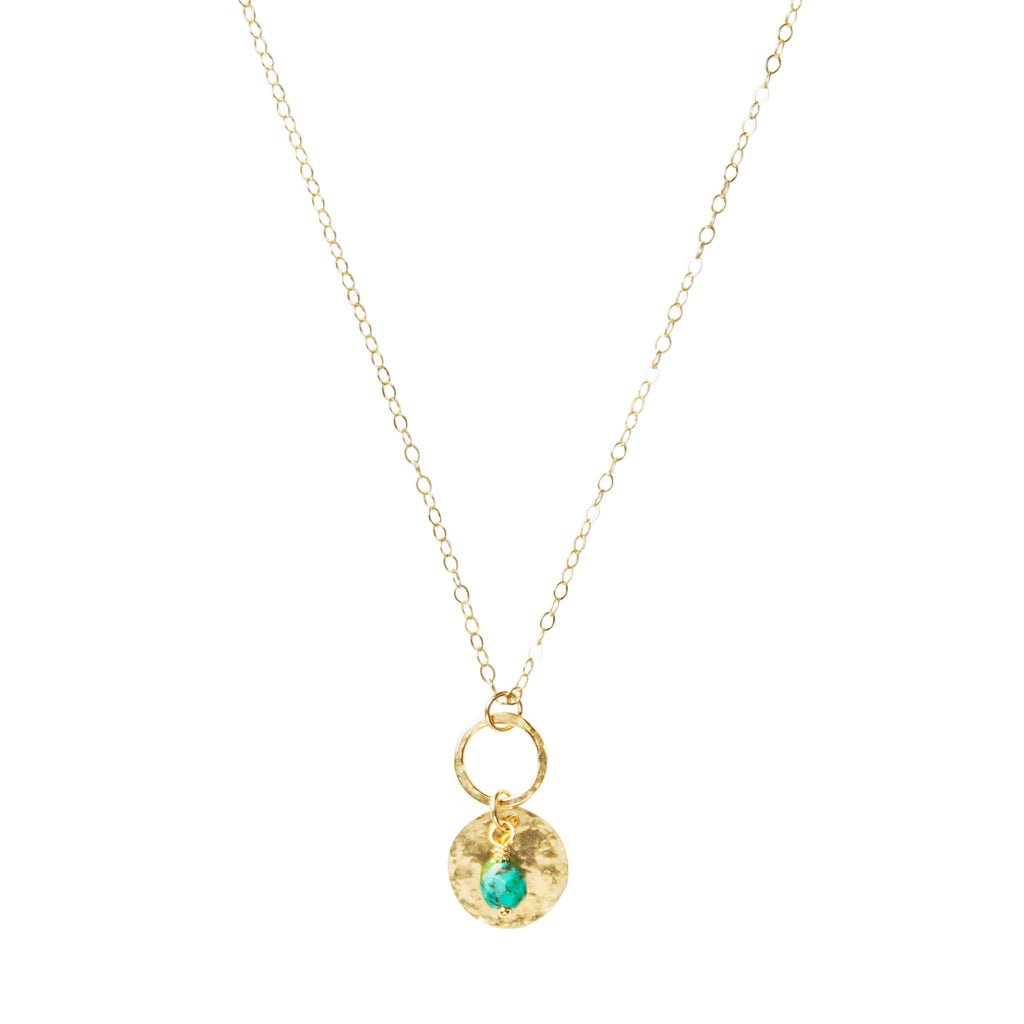 Gold figure 8 necklace in turquoise
