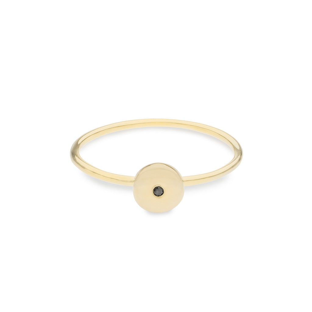Geo Ring - Circle - Gold - Black Diamond